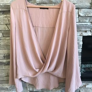 Olivaceous Beautiful pink draped open front blouse